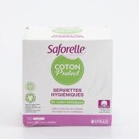 SAFORELLE Coton Protect Serviettes Hygiéniques 10 Serviettes Extra fines