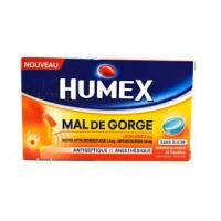 HUMEX Mal de Gorge Lidocaïne 2 mg 24 Pastilles Menthe Glaciale Sans Sucre
