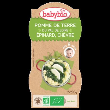Babybio Bol Menu du Jour de Pomme de Terre, Epinard et Chèvre dès 8 mois 2x200g