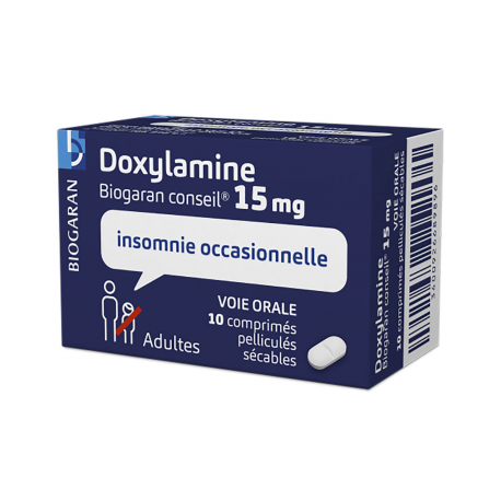 DOXYLAMINE 15MG Biogaran Conseil 10 comprimés sécable (Doxylamine)