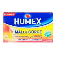 Humex Mal de Gorge (Lidocaïne 2 mg) Menthe Glaciale 24 Pastilles