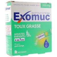 EXOMUC 200 mg 15 sachets Avec ou Sans Eau ( Acétylcystèine )